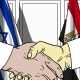 Businessmen or Politicians Shake Hands Against Flags of Israel and Egypt - VideoHive Item for Sale