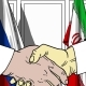 Businessmen or Politicians Shake Hands Against Flags of Russia and Iran - VideoHive Item for Sale