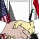 Businessmen or Politicians Shake Hands Against Flags of USA and Syria - VideoHive Item for Sale