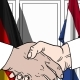 Businessmen or Politicians Shaking Hands Against Flags of Germany and Netherlands - VideoHive Item for Sale