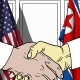 Businessmen or Politicians Shake Hands Against Flags of USA and North Korea - VideoHive Item for Sale