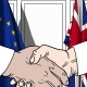 Politicians Shaking Hands Against Flags of EU and Great Britain - VideoHive Item for Sale