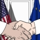 Businessmen or Politicians Shaking Hands Against Flags of USA and EU - VideoHive Item for Sale