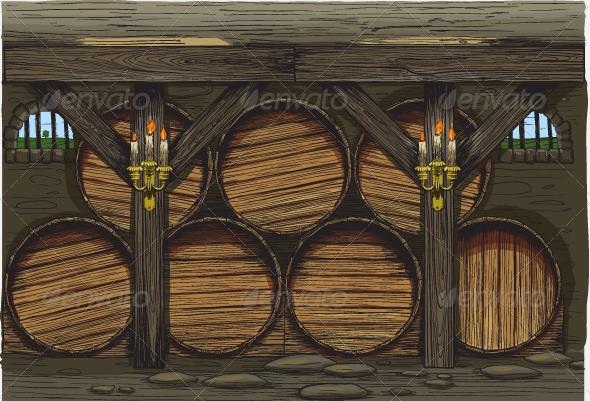 Old wine barrels - Food Objects