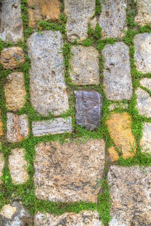 Old stone sidewalk - Stock Photo - Images