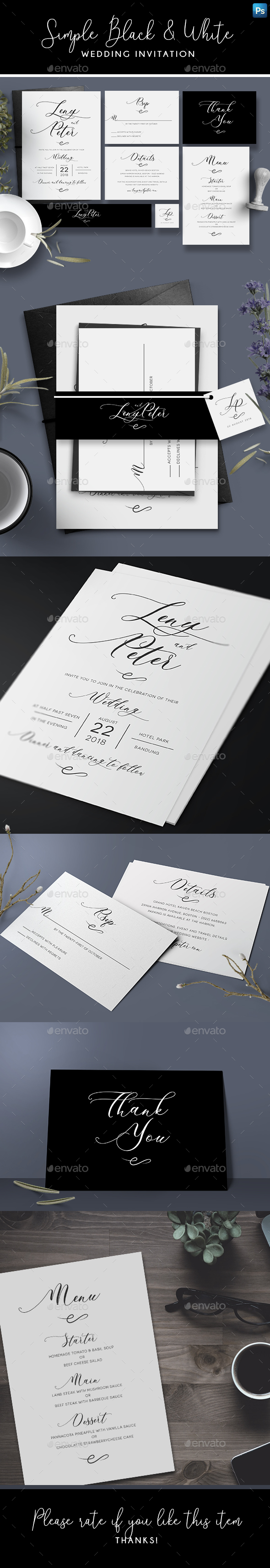 Simple Black & White Invitation - Wedding Greeting Cards