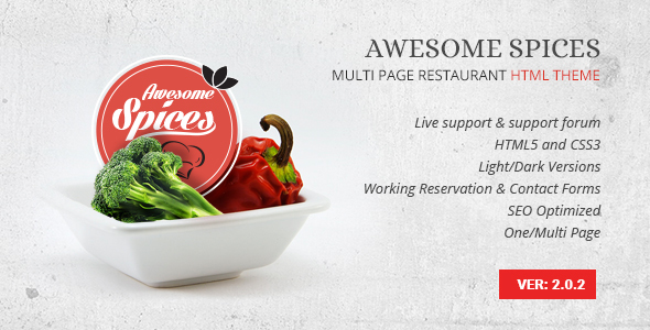 Awesome Spice - Restaurant / Cafe HTML Template - Food Retail