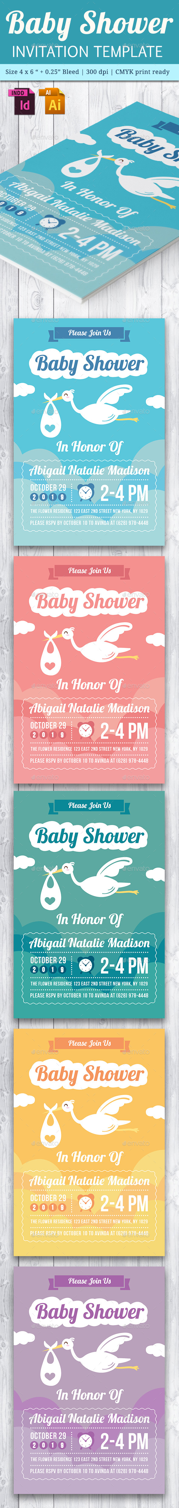 Baby Shower Template - Vol. 20 - Cards & Invites Print Templates