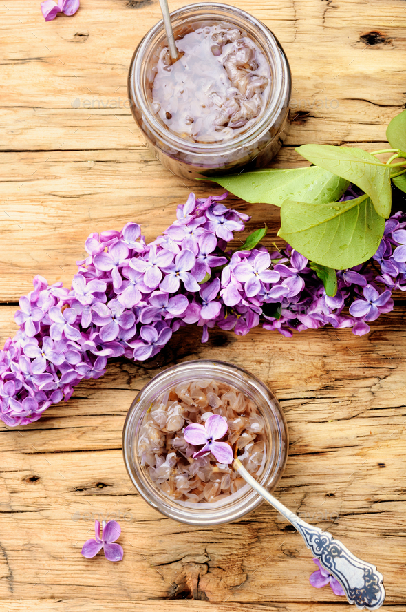Homemade jam from the lilac - Stock Photo - Images