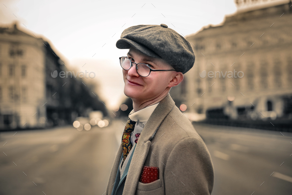 Boy outdoor dressed in vintage style - Stock Photo - Images