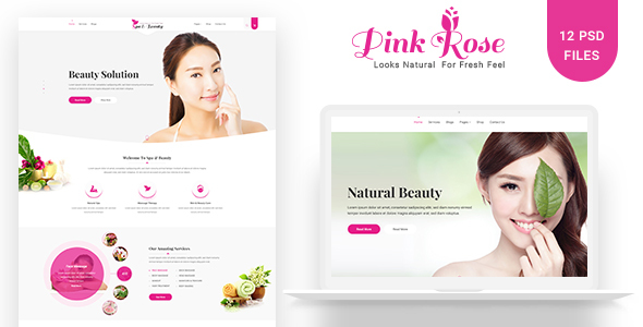 Pink Rose Unique Web Layout PSD Template Free Download | Nulled