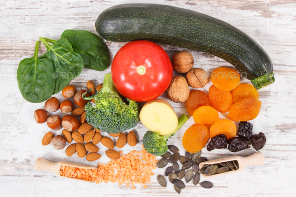 Natural ingredients as source potassium, vitamin K, minerals and fiber - Stock Photo - Images