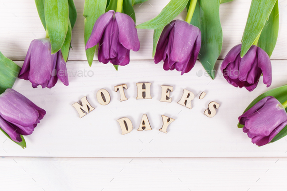 Bouquet of purple tulips with inscription mother's day on boards - Stock Photo - Images