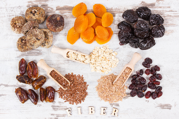 Ingredients as source natural vitamins and dietary fiber, healthy nutrition concept - Stock Photo - Images