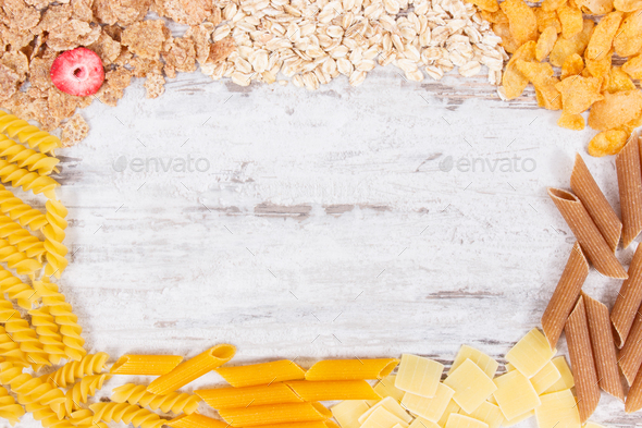 Frame of natural food containing carbohydrates, minerals and dietary fiber - Stock Photo - Images