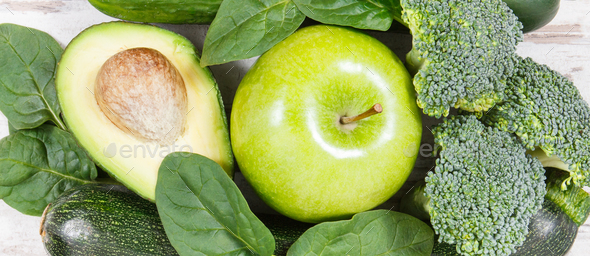 Natural green fruit and vegetables as source vitamins and minerals, healthy nutrition concept - Stock Photo - Images