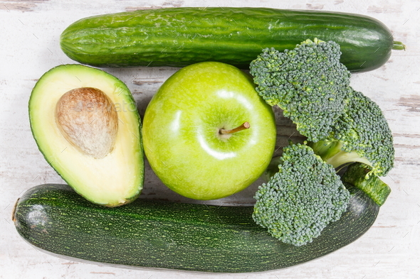 Natural green ingredients as source vitamins and minerals - Stock Photo - Images
