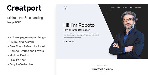 Creatport - Minimal Portfolio Landing Page PSD Templates Free Download | Nulled