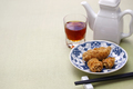 deep fried honeycomb taro dumplings, chinese dim sum and shaoxing wine - PhotoDune Item for Sale