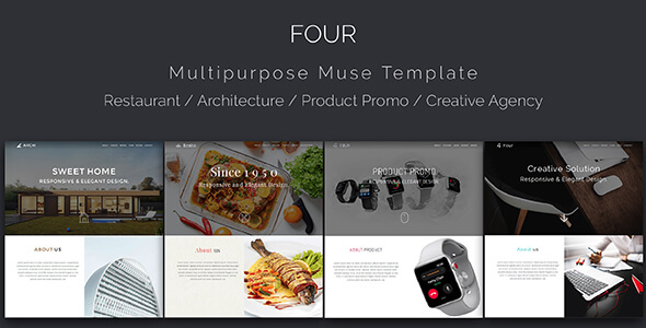 Four_Architecture, Restaurant, Product Landing, Multipurpose Muse Template