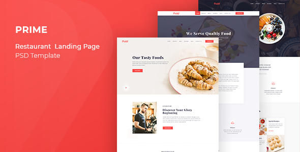 Prime Restaurant Landing Page Psd Template By Goldenlayers Themeforest