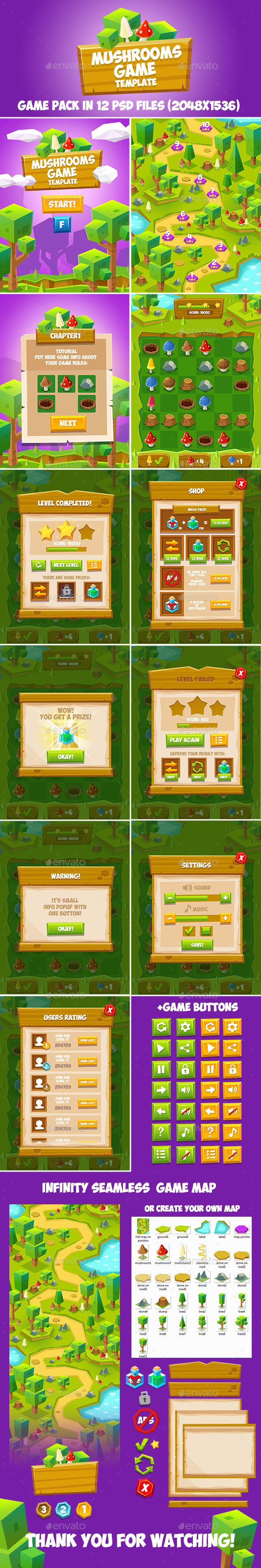 Forest Geometric Game Pack - Game Kits Game Assets