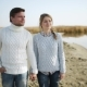 Young Beautiful Couple in Love Walking on the Lake Shore, Casually Dressed, Fall - VideoHive Item for Sale