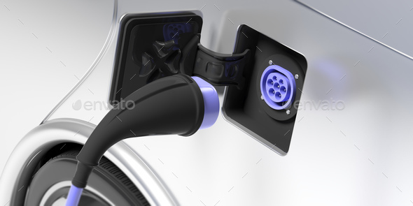Electric car charger socket type 2 on white vehicle. 3d illustration - Stock Photo - Images