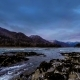 Shot of a River Near Mountain Forest. Huge Rocks and Fast Clouds Movenings - VideoHive Item for Sale