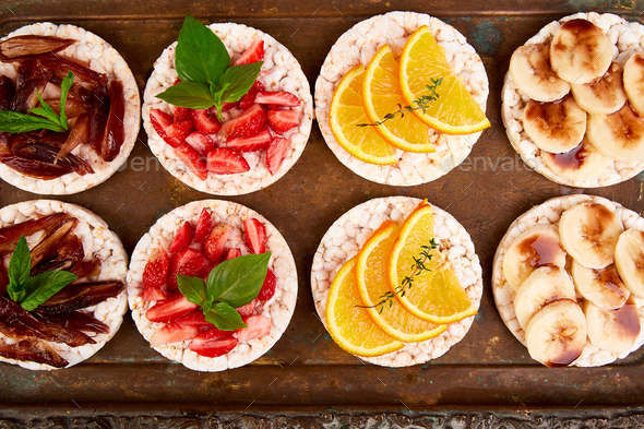 Snack with rice crispbread and fresh fruits - Stock Photo - Images