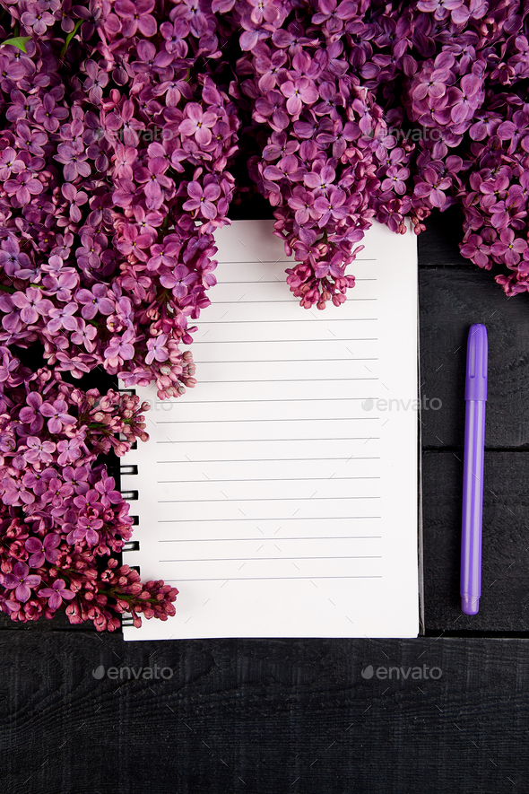 Diary and bouquet  lilac - Stock Photo - Images