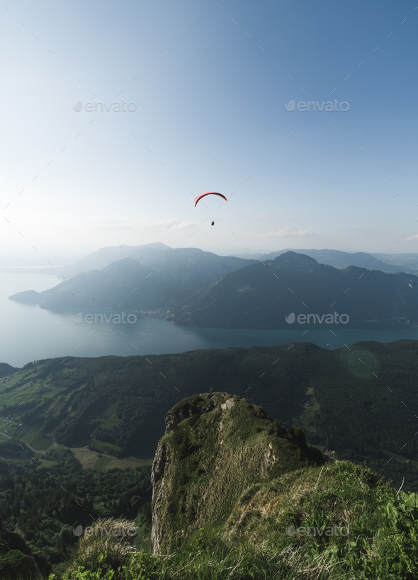 Paraglider in the Swiss Alps - Stock Photo - Images