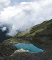 Deep Blue Lake in the Swiss Alps
