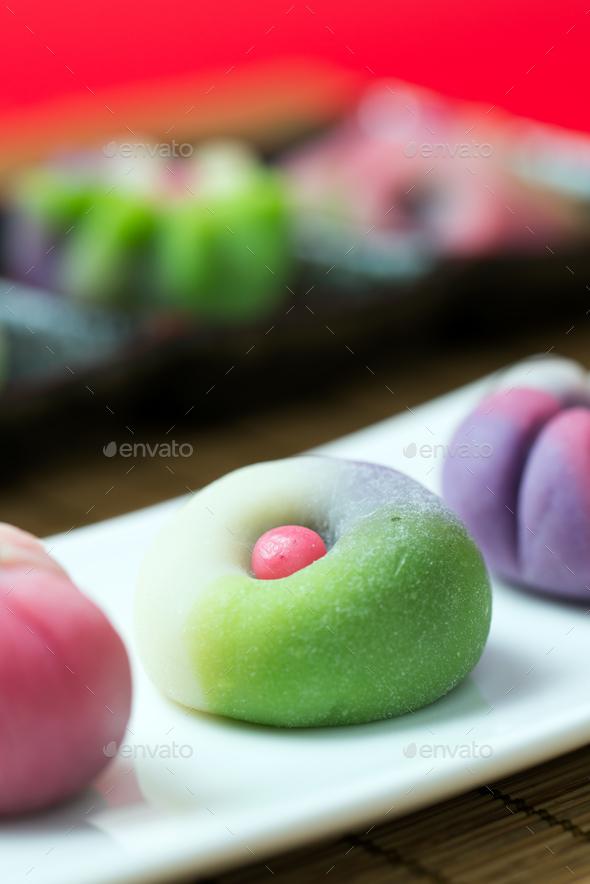Japanese traditional confectionery wagashi - Stock Photo - Images