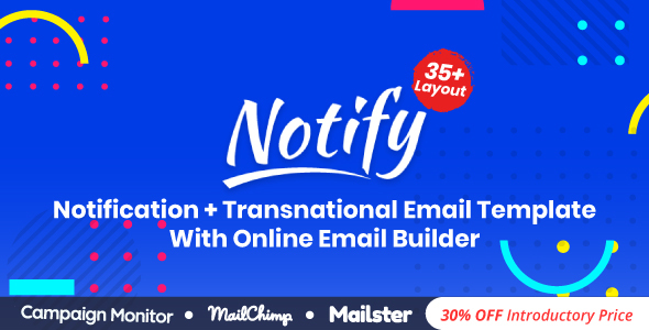 Image of Notify | Responsive Multipurpose Email Template With Online Email Builder