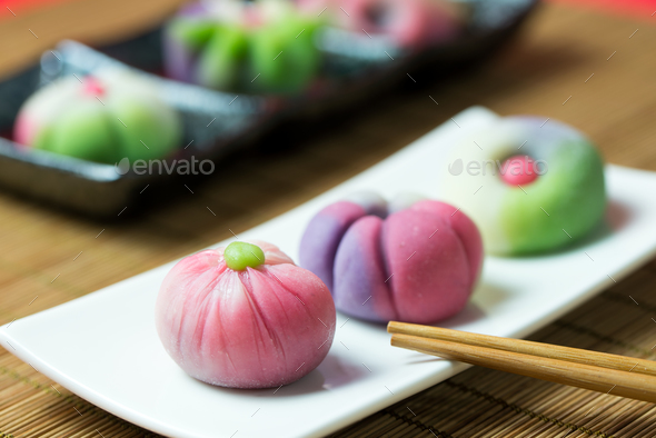 Japanese traditional confectionery wagashi - Stock Photo - Images