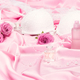 Perfumes with roses and women underwear on pink silk - PhotoDune Item for Sale