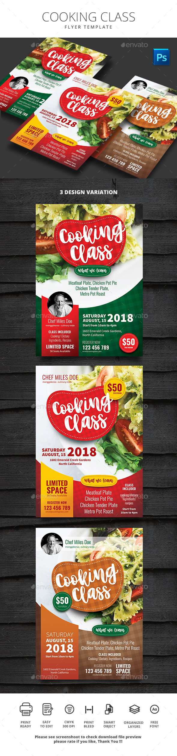 Cooking Class - Flyers Print Templates