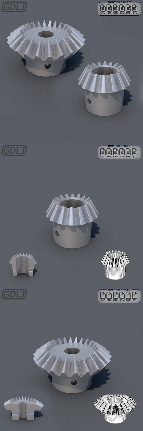 Conical gears 3D Models With STL file 3D Printers - 3DOcean Item for Sale