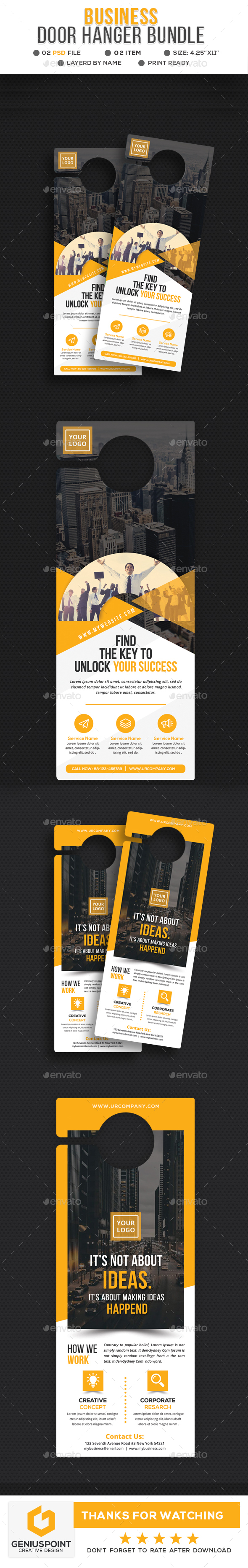 Business Door Hanger Bundle - Miscellaneous Print Templates
