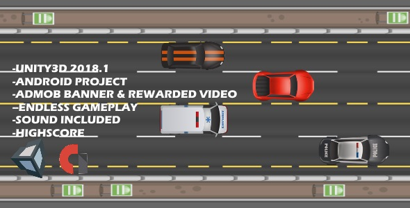 2D Race Game (UNITY3D 2018.1 + Admob Banner & Rewarded Video - CodeCanyon Item for Sale