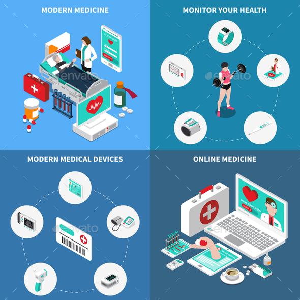 Digital Medicine Isometric Design Concept - Health/Medicine Conceptual