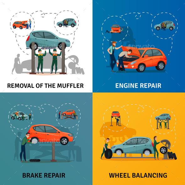 Car Service Concept Icons Set - Business Conceptual