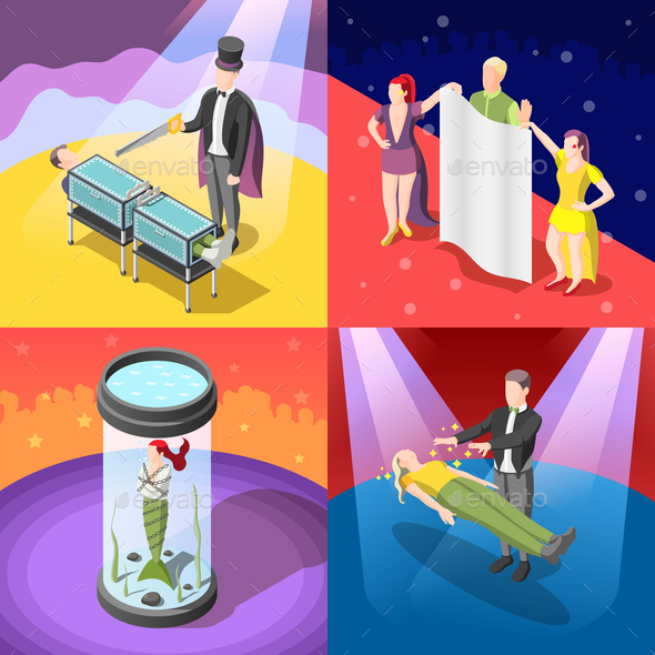 Magic Show Isometric Concept - People Characters
