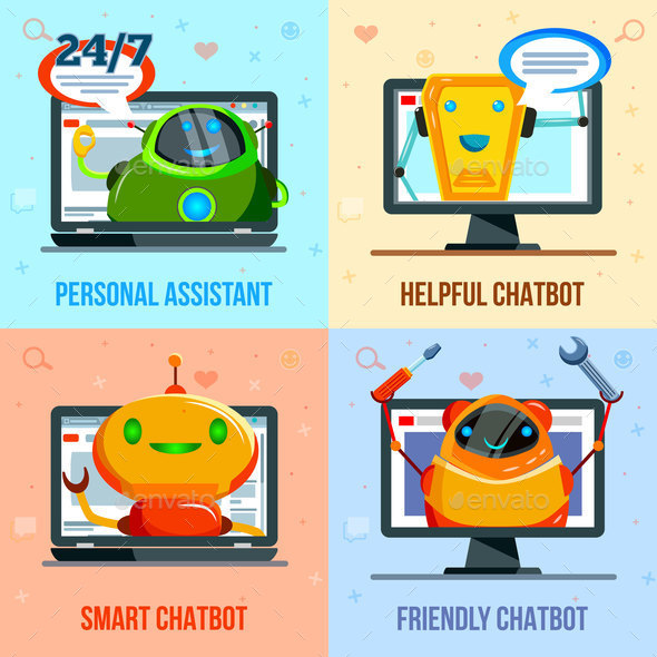 Chat Bot Flat Design Concept - Communications Technology