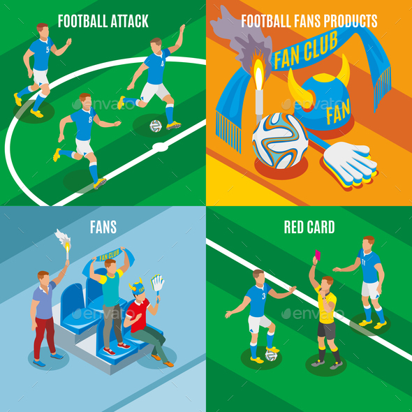 Football 2x2 Isometric Design Concept - Sports/Activity Conceptual