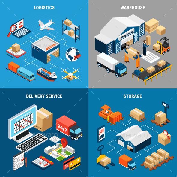 Logistics 2x2 Isometric Concept - Concepts Business