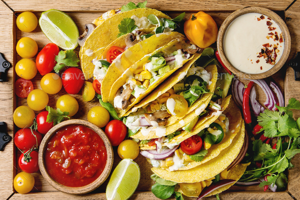 Vegetarian corn tacos - Stock Photo - Images
