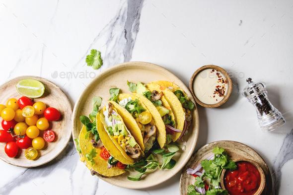 Vegetarian corn tacos - Stock Photo - Images