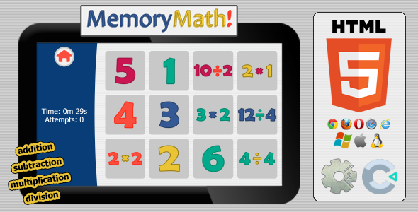 MemMath! - HTML5 Educational Game - CodeCanyon Item for Sale